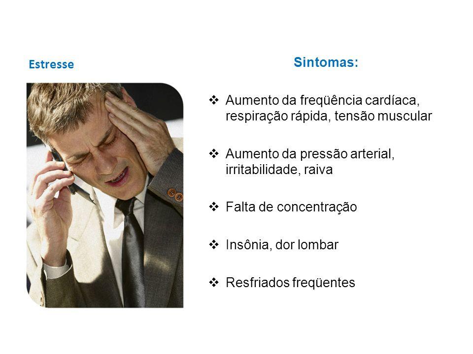 EstresseSintomas: Aumento da freqüência cardíaca, respiração rápida, tensão muscular. Aumento da pressão arterial, irritabilidade, raiva.