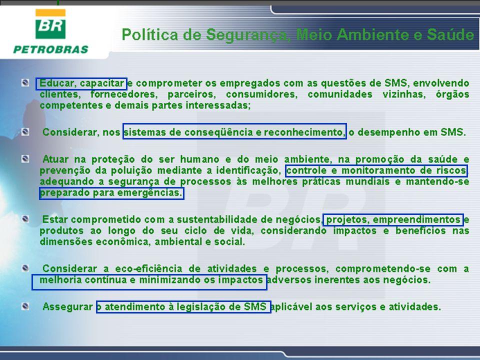 Explicar a Política da BR, enfatizando os itens em destaque, no que refere-se a: