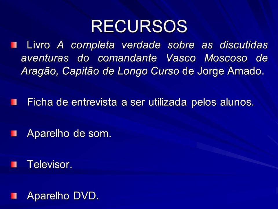 RECURSOSLivro A completa verdade sobre as discutidas aventuras do comandante Vasco Moscoso de Aragão, Capitão de Longo Curso de Jorge Amado.