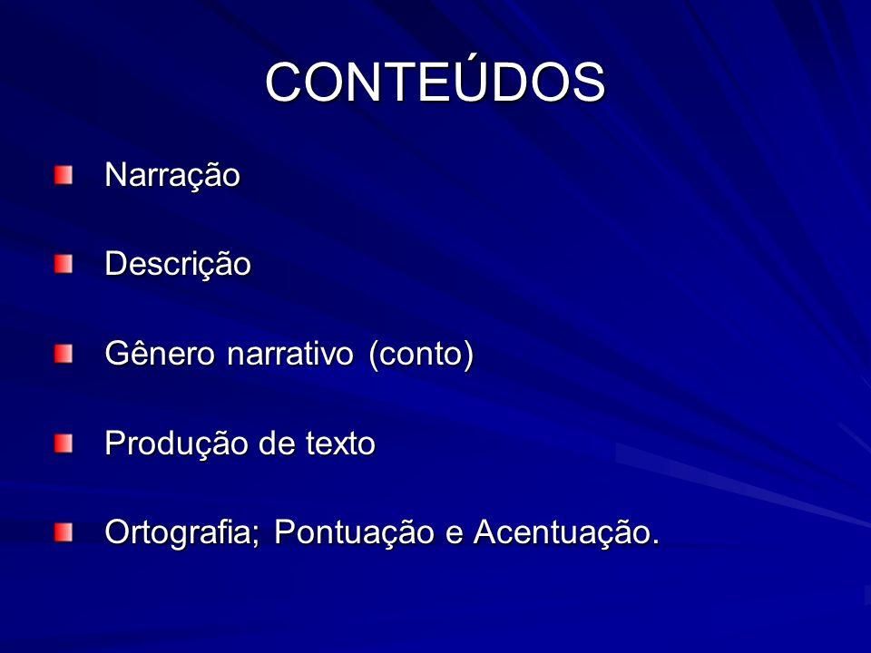 CONTEÚDOS Narração Descrição Gênero narrativo (conto)