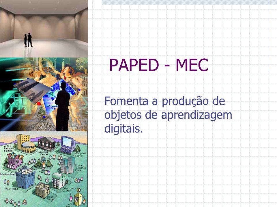 PAPED - MEC Fomenta a produção de objetos de aprendizagem digitais.
