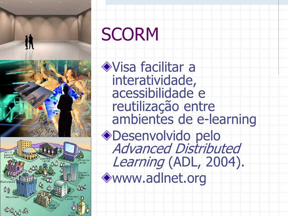 SCORM Visa facilitar a interatividade, acessibilidade e reutilização entre ambientes de e-learning.