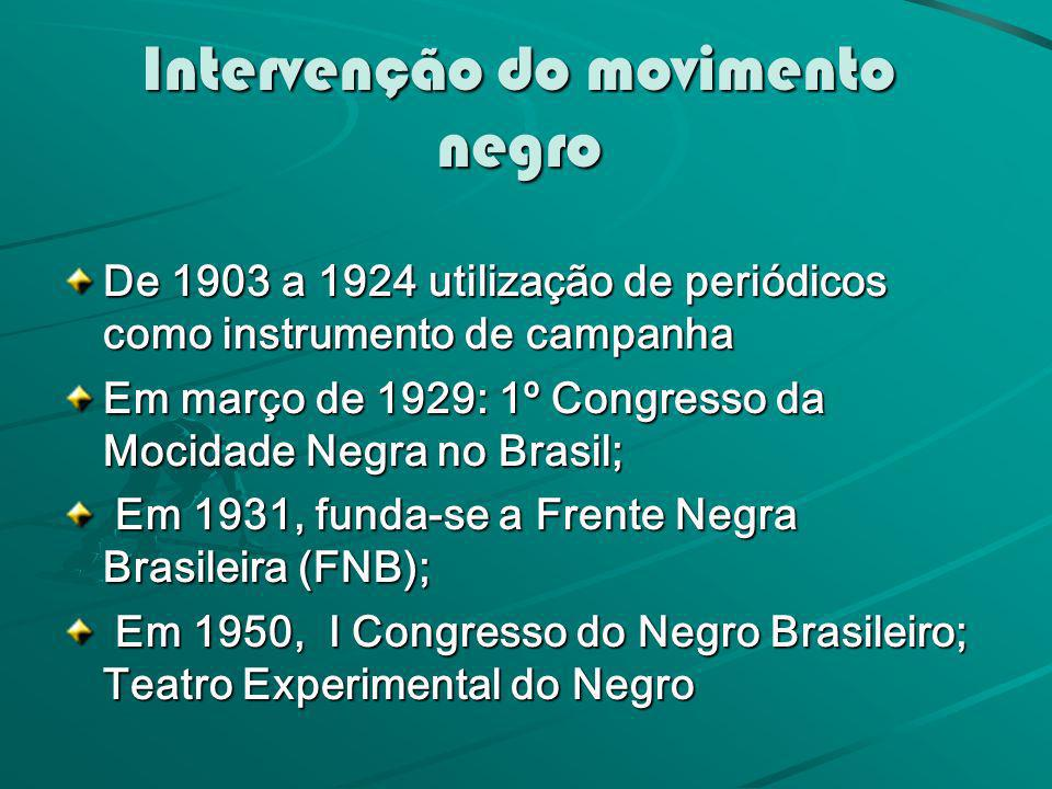 Intervenção do movimento negro