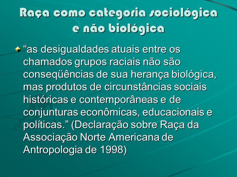 Raça como categoria sociológica e não biológica