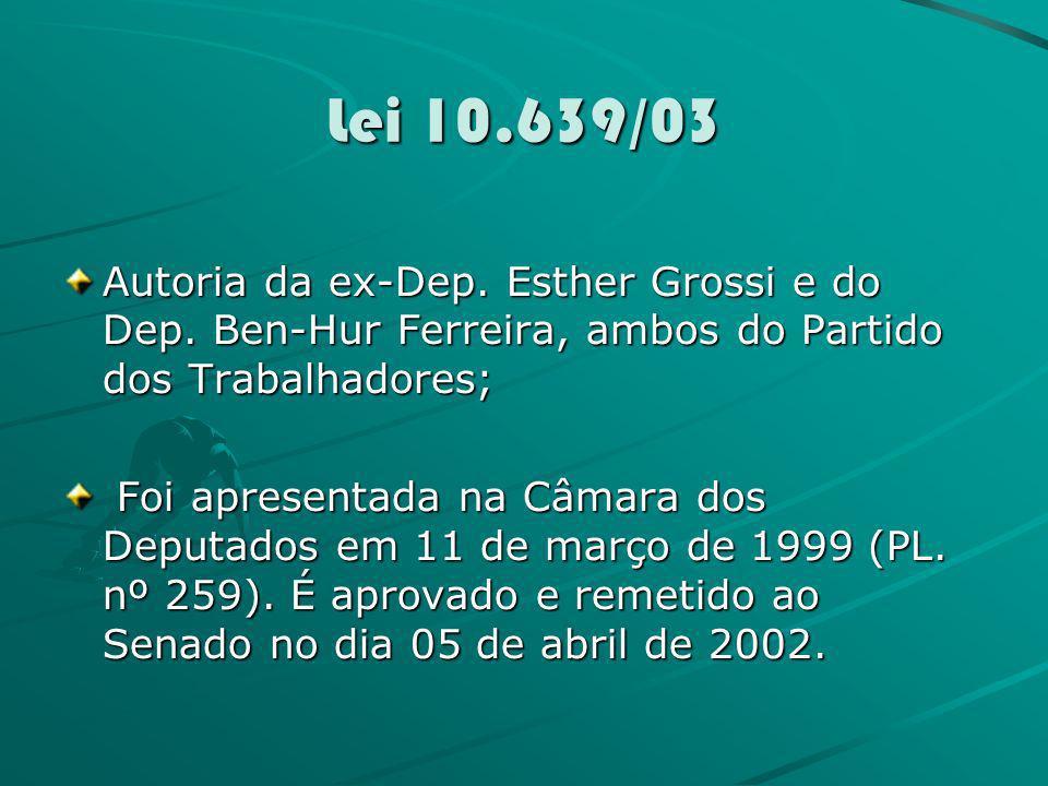 Lei 10.639/03Autoria da ex-Dep. Esther Grossi e do Dep. Ben-Hur Ferreira, ambos do Partido dos Trabalhadores;