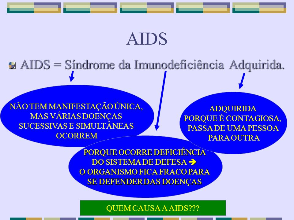 AIDS AIDS = Síndrome da Imunodeficiência Adquirida.