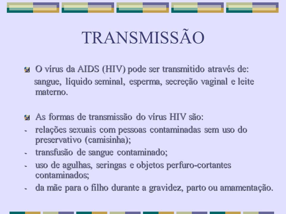 TRANSMISSÃO O vírus da AIDS (HIV) pode ser transmitido através de:
