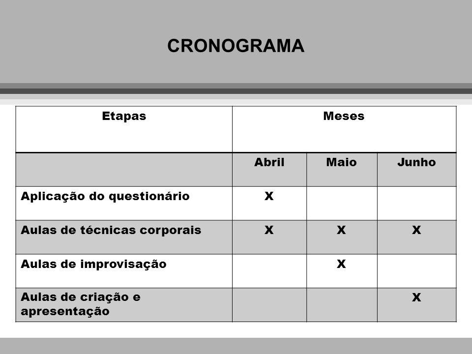 CRONOGRAMA Etapas Meses Abril Maio Junho Aplicação do questionário X