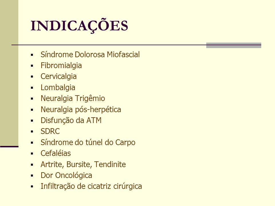 INDICAÇÕES Síndrome Dolorosa Miofascial Fibromialgia Cervicalgia