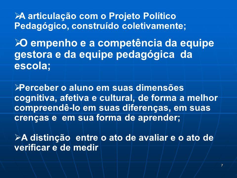 A articulação com o Projeto Político Pedagógico, construído coletivamente;