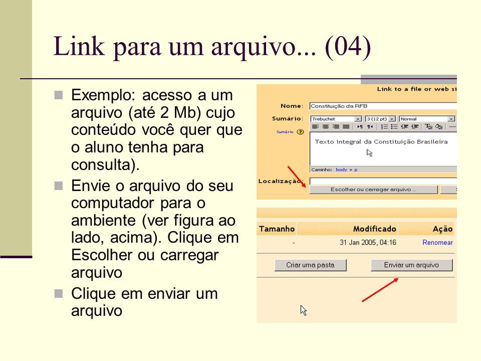 Link para um arquivo... (04) Exemplo: acesso a um arquivo (até 2 Mb) cujo conteúdo você quer que o aluno tenha para consulta).
