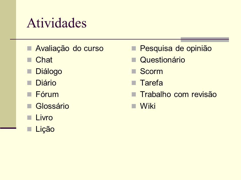 Atividades Avaliação do curso Chat Diálogo Diário Fórum Glossário