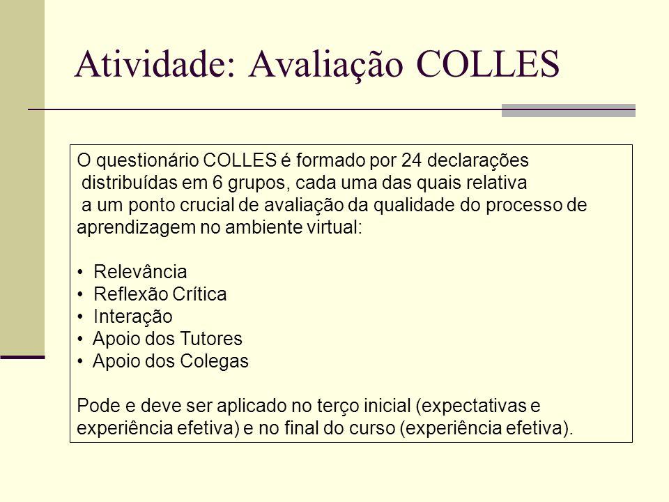 Atividade: Avaliação COLLES