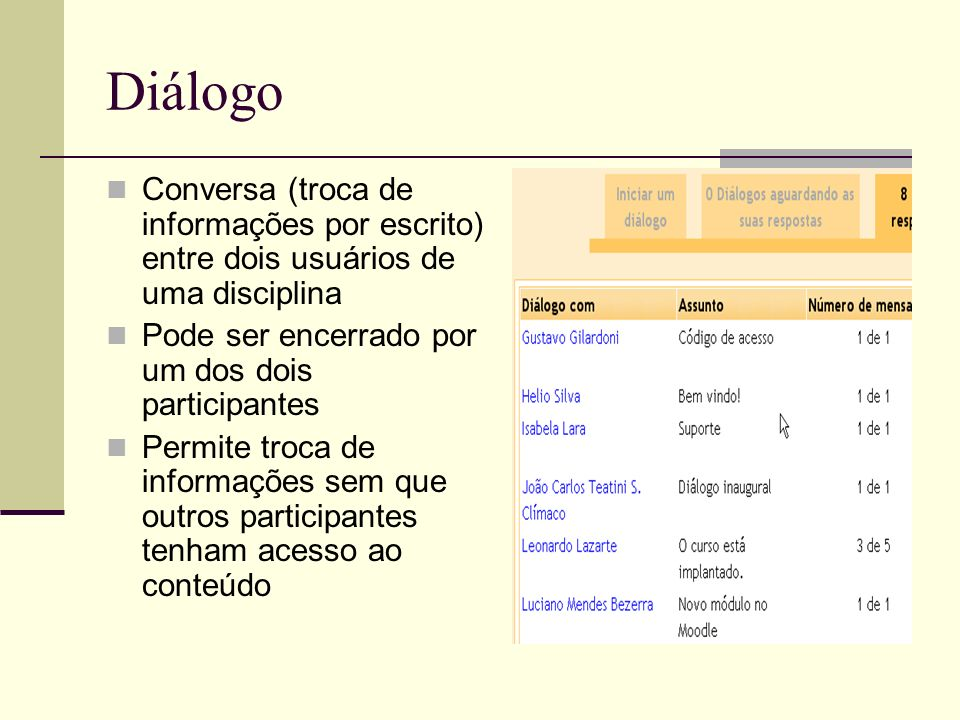 Diálogo Conversa (troca de informações por escrito) entre dois usuários de uma disciplina. Pode ser encerrado por um dos dois participantes.
