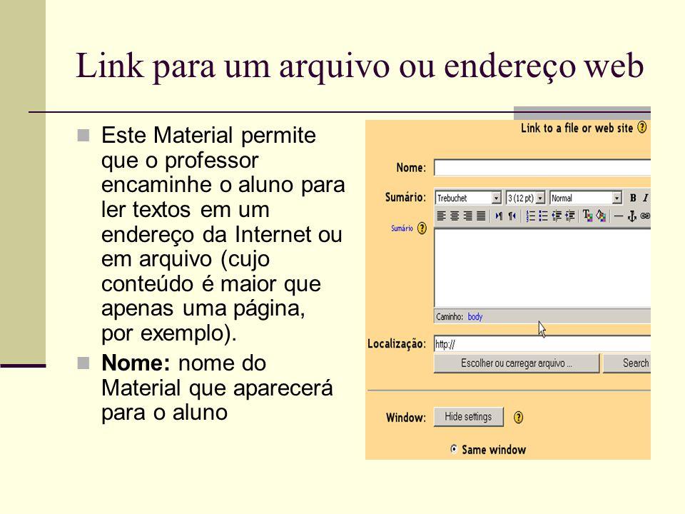 Link para um arquivo ou endereço web