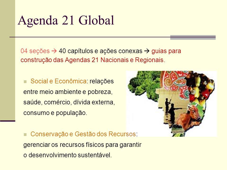 Agenda 21 Global04 seções  40 capítulos e ações conexas  guias para construção das Agendas 21 Nacionais e Regionais.