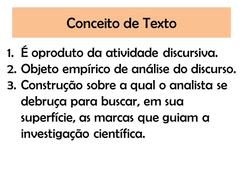 Conceito de Texto É oproduto da atividade discursiva.