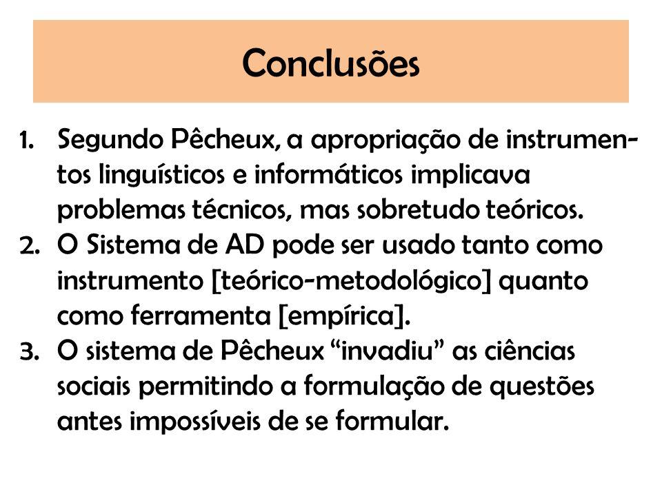 Conclusões Segundo Pêcheux, a apropriação de instrumen-tos linguísticos e informáticos implicava problemas técnicos, mas sobretudo teóricos.