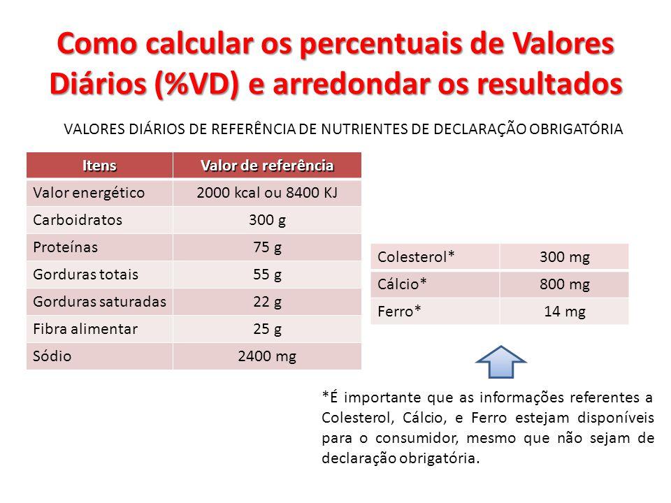 VALORES DIÁRIOS DE REFERÊNCIA DE NUTRIENTES DE DECLARAÇÃO OBRIGATÓRIA