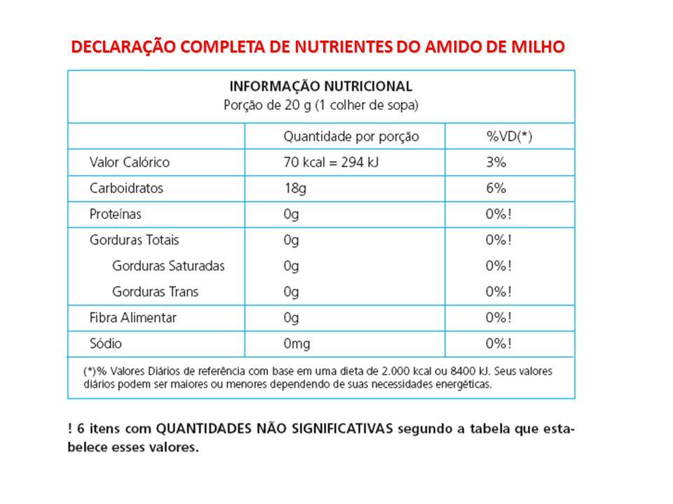 DECLARAÇÃO COMPLETA DE NUTRIENTES DO AMIDO DE MILHO