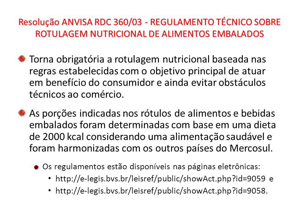 Resolução ANVISA RDC 360/03 - REGULAMENTO TÉCNICO SOBRE ROTULAGEM NUTRICIONAL DE ALIMENTOS EMBALADOS