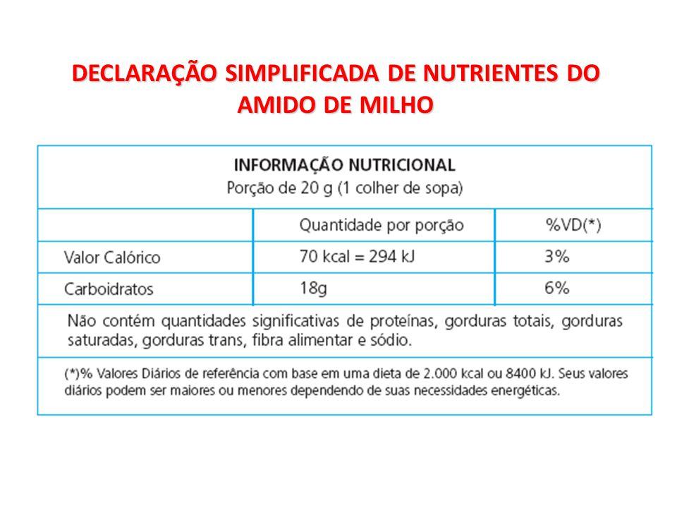 DECLARAÇÃO SIMPLIFICADA DE NUTRIENTES DO AMIDO DE MILHO