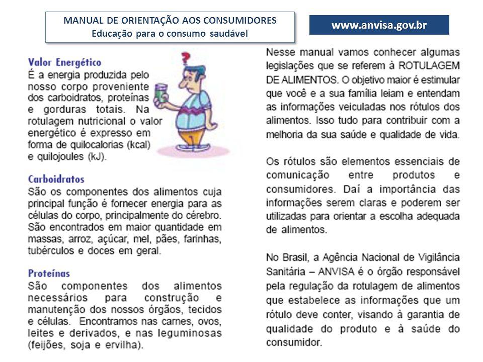 MANUAL DE ORIENTAÇÃO AOS CONSUMIDORES Educação para o consumo saudável