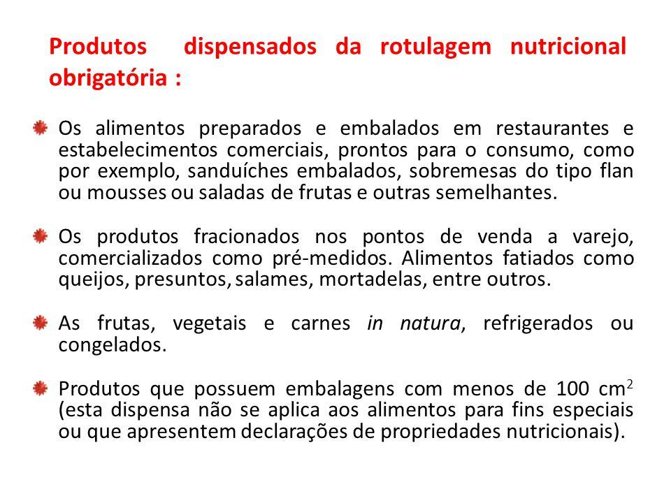 Produtos dispensados da rotulagem nutricional obrigatória :
