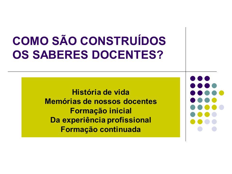 COMO SÃO CONSTRUÍDOS OS SABERES DOCENTES