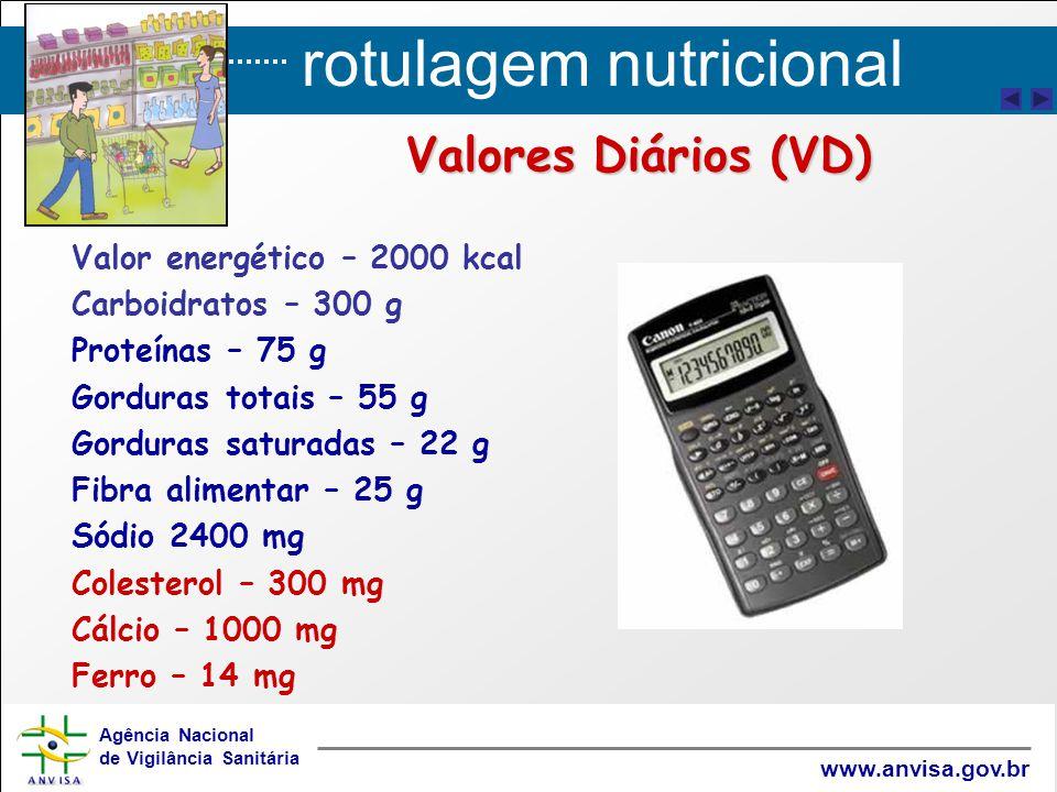 Valores Diários (VD) Valor energético – 2000 kcal Carboidratos – 300 g