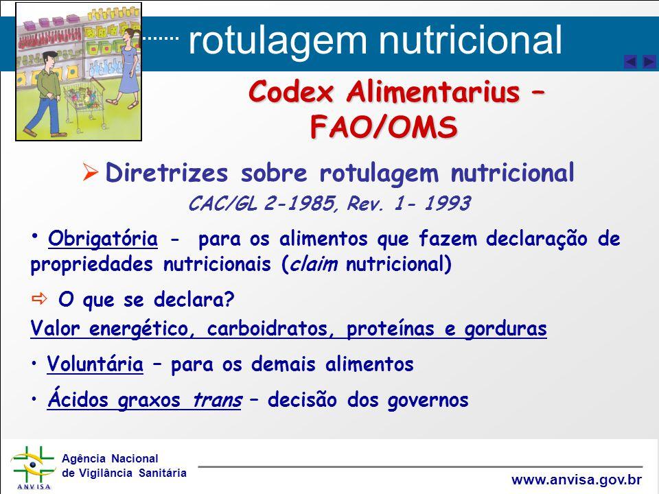 Codex Alimentarius – FAO/OMS Diretrizes sobre rotulagem nutricional