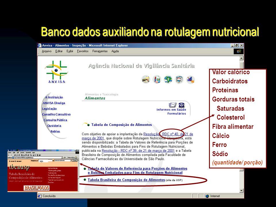 Banco dados auxiliando na rotulagem nutricional