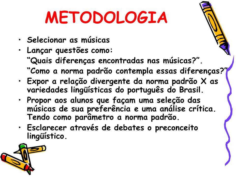 METODOLOGIA Selecionar as músicas Lançar questões como: