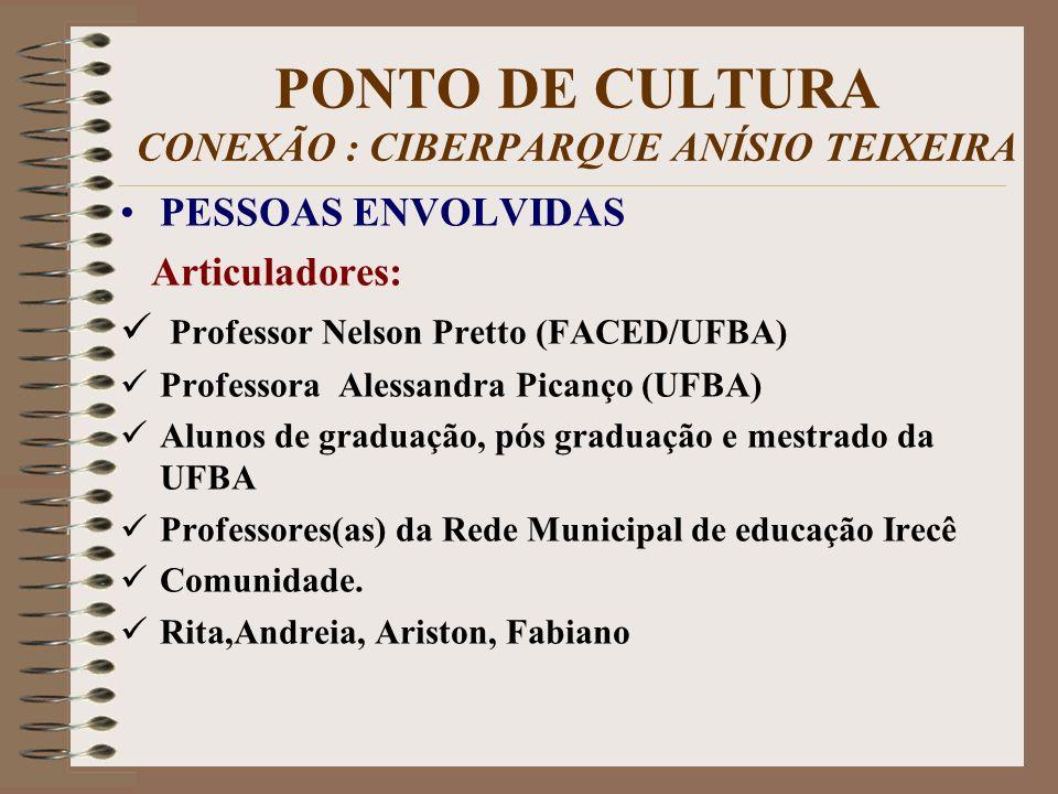 PONTO DE CULTURA CONEXÃO : CIBERPARQUE ANÍSIO TEIXEIRA