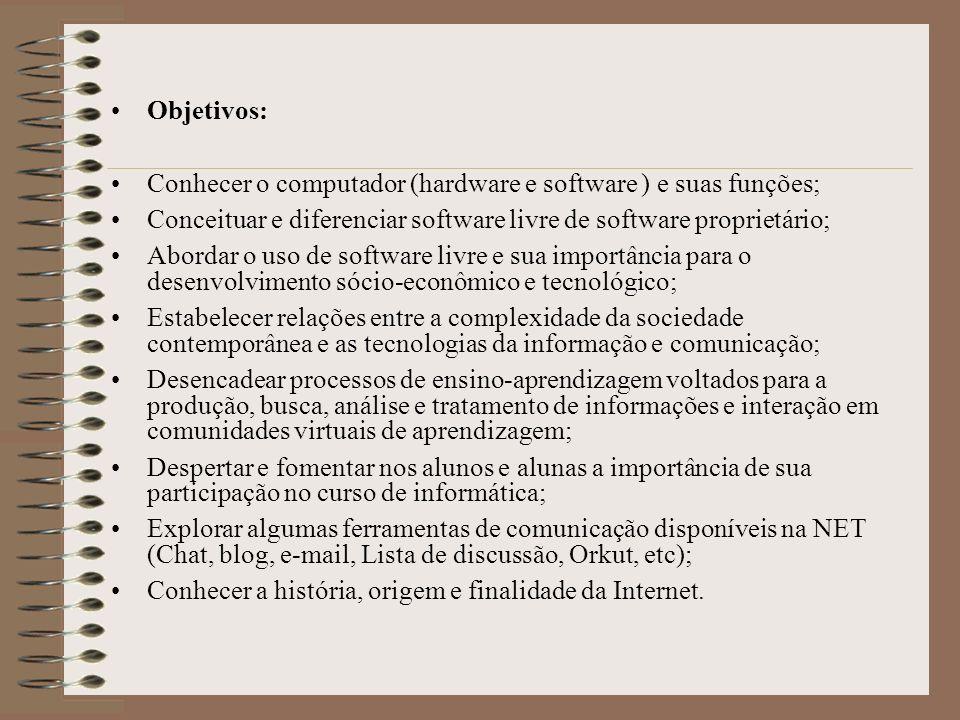 Objetivos: Conhecer o computador (hardware e software ) e suas funções; Conceituar e diferenciar software livre de software proprietário;