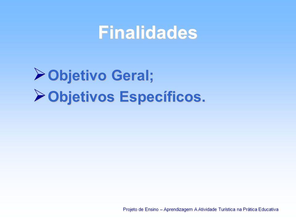 Finalidades Objetivo Geral; Objetivos Específicos.