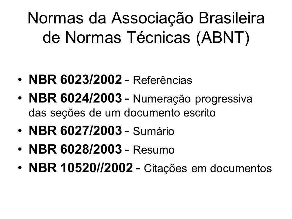 Normas da Associação Brasileira de Normas Técnicas (ABNT)