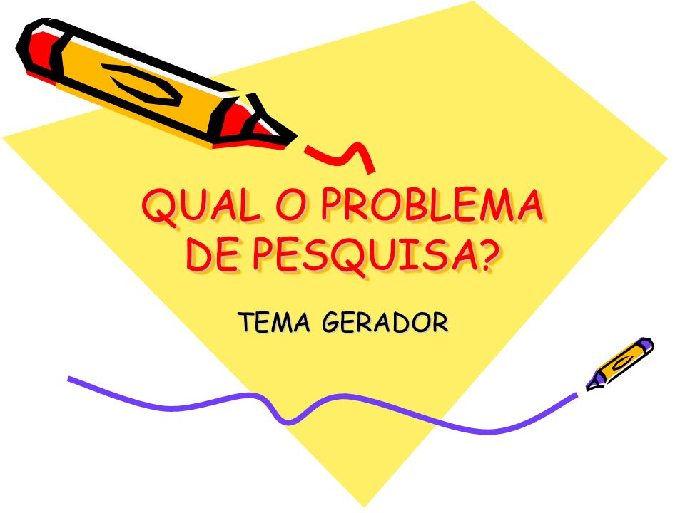 QUAL O PROBLEMA DE PESQUISA