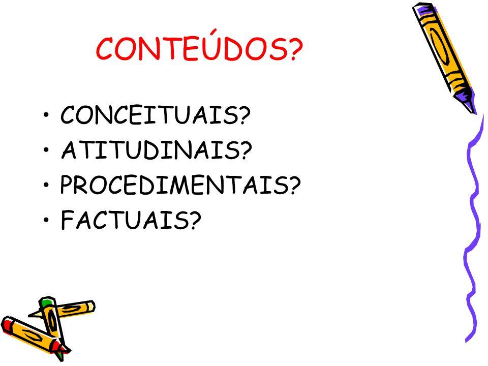 CONTEÚDOS CONCEITUAIS ATITUDINAIS PROCEDIMENTAIS FACTUAIS