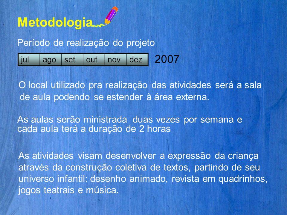 MetodologiaPeríodo de realização do projeto. jul. ago. set. out. nov. dez. 2007.