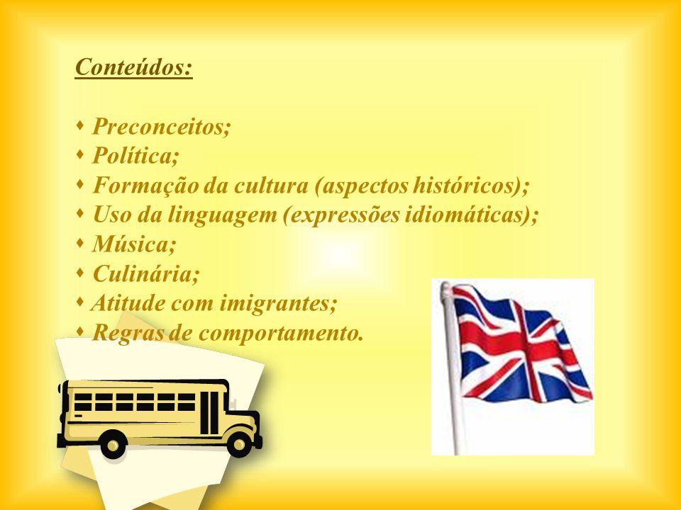 Conteúdos:Preconceitos; Política; Formação da cultura (aspectos históricos); Uso da linguagem (expressões idiomáticas);