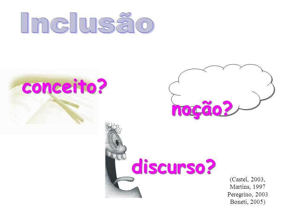 Inclusão conceito noção discurso (Castel, 2003, Martins, 1997