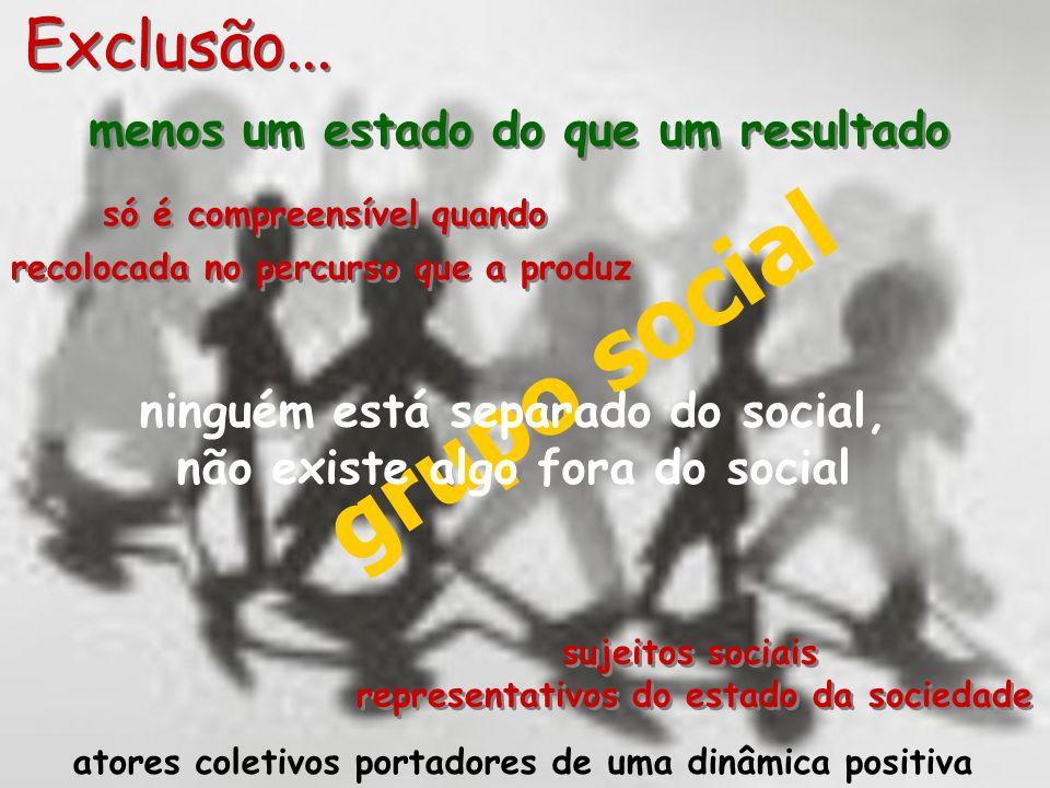 grupo social Exclusão... menos um estado do que um resultado