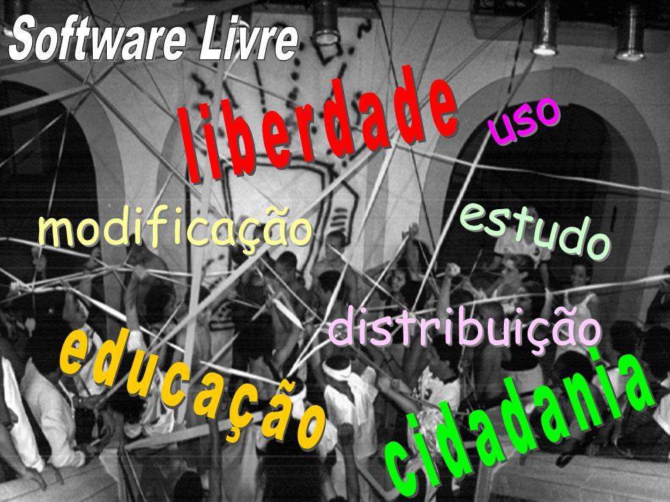 uso estudo modificação distribuição Software Livre liberdade educação