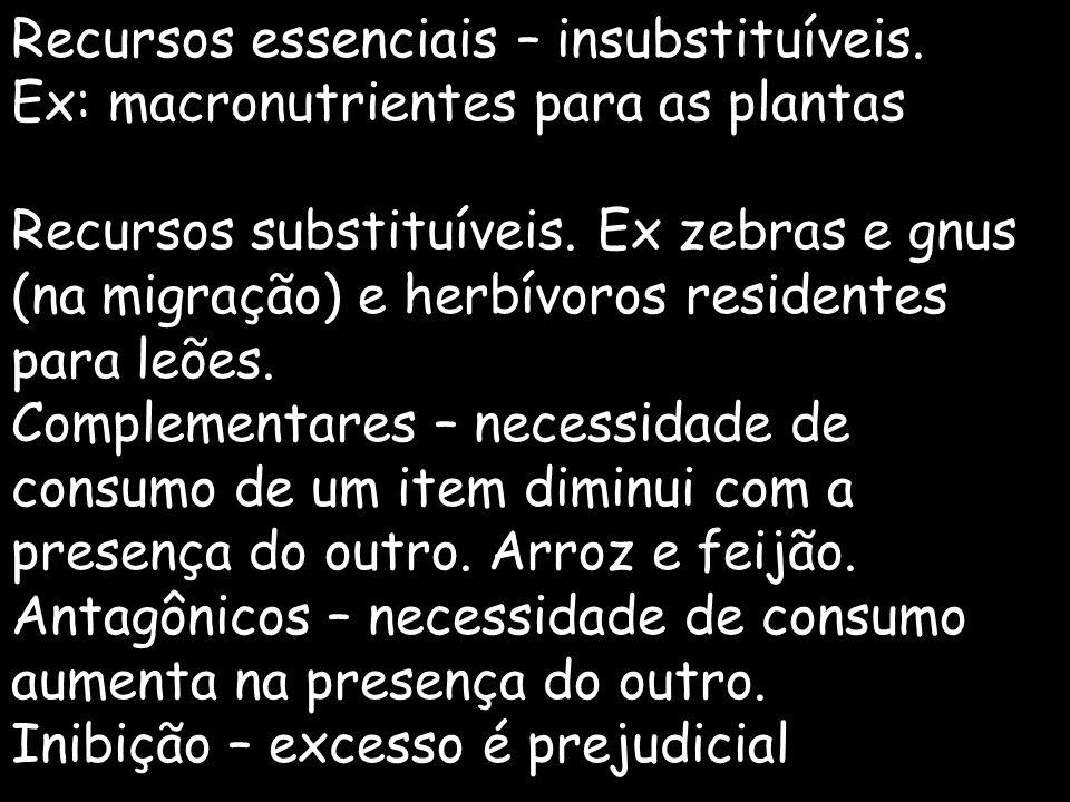 Recursos essenciais – insubstituíveis.