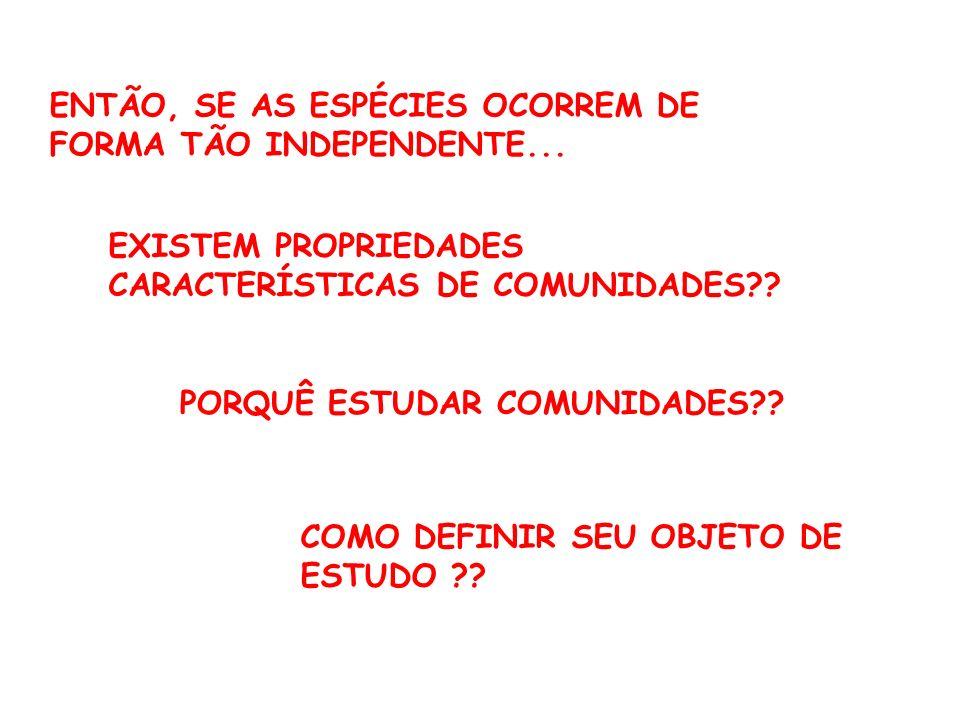 ENTÃO, SE AS ESPÉCIES OCORREM DE FORMA TÃO INDEPENDENTE...