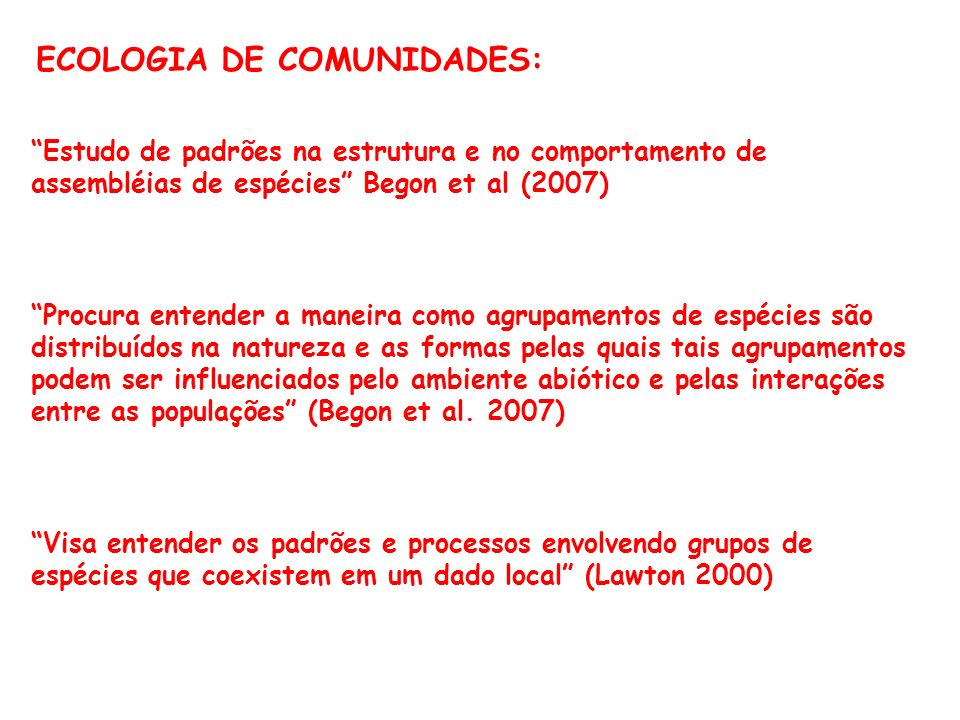 ECOLOGIA DE COMUNIDADES: