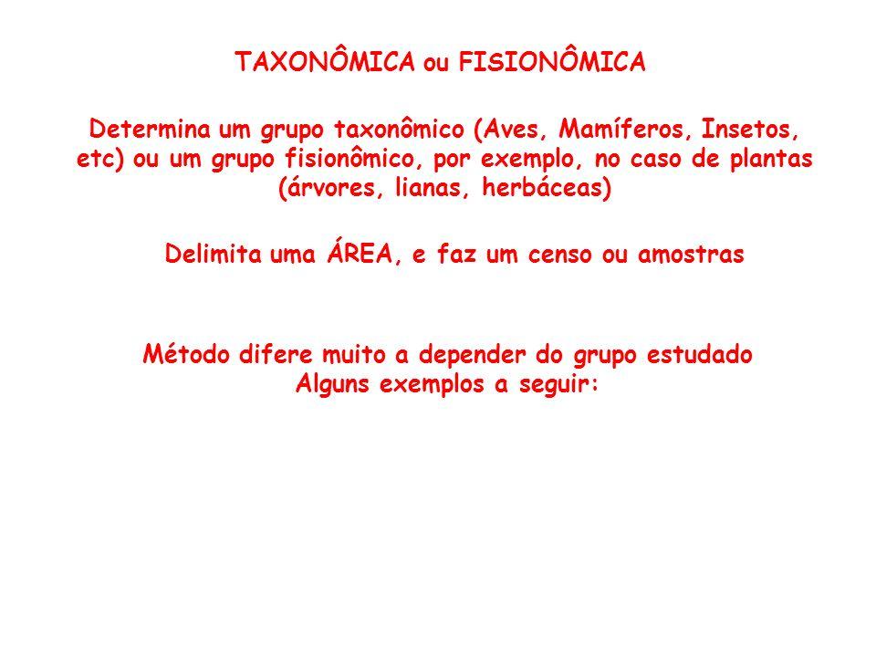 TAXONÔMICA ou FISIONÔMICA