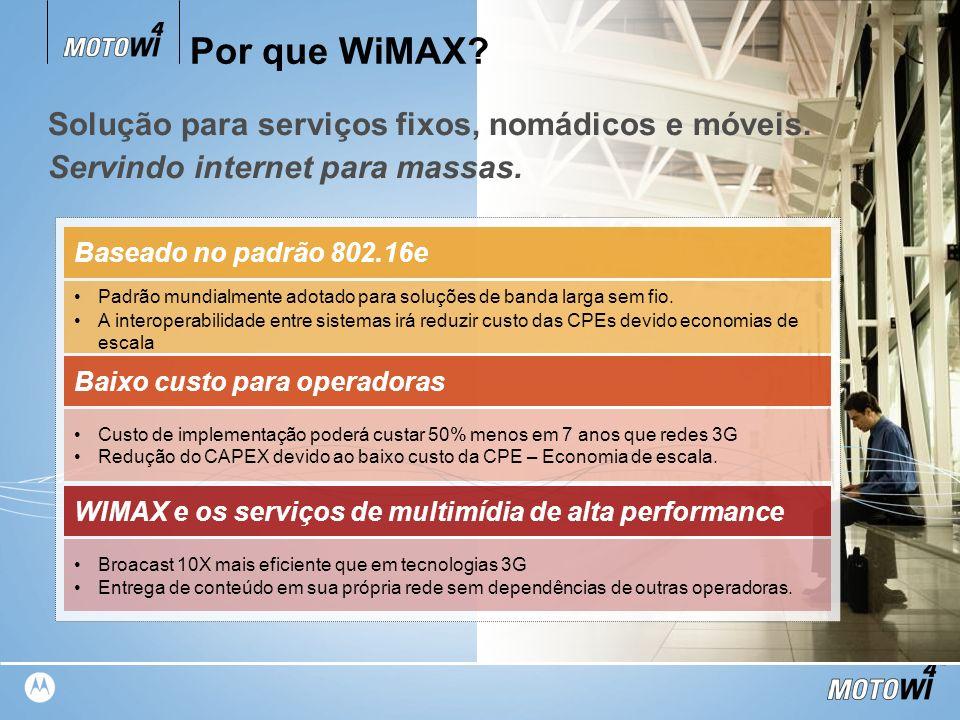 Por que WiMAX Solução para serviços fixos, nomádicos e móveis.