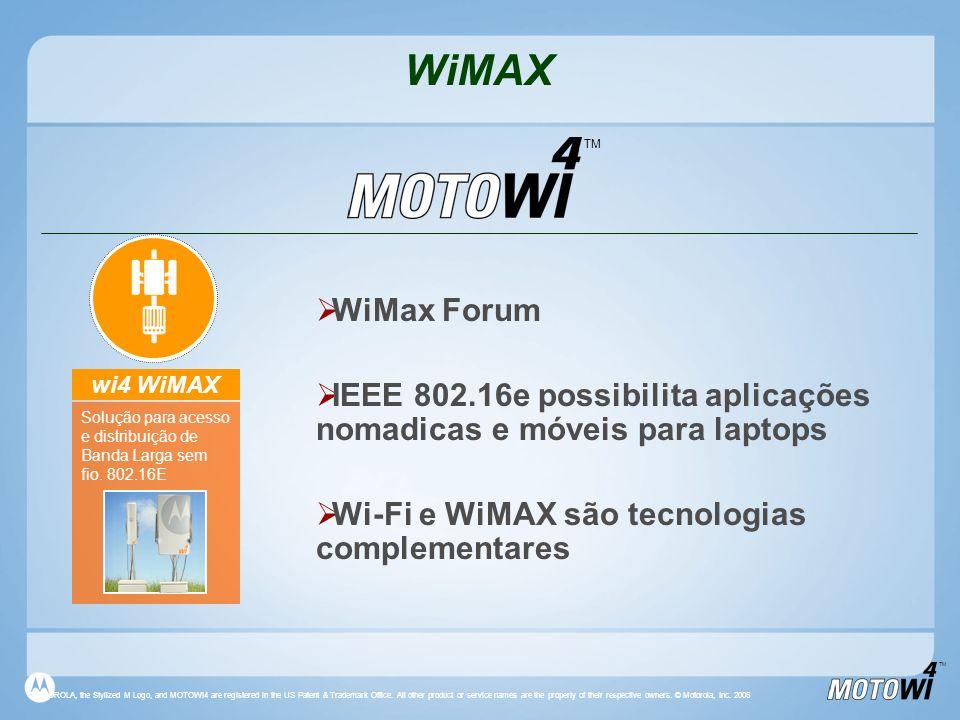 WiMAXTM. wi4 WiMAX. Solução para acesso e distribuição de Banda Larga sem fio. 802.16E. WiMax Forum.